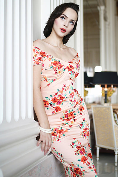 Billionaire Floral Fitted Dress,stopstaring.