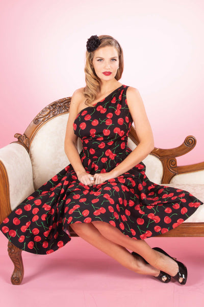 Bloom Swing Dress in Black Cherry Print Custom