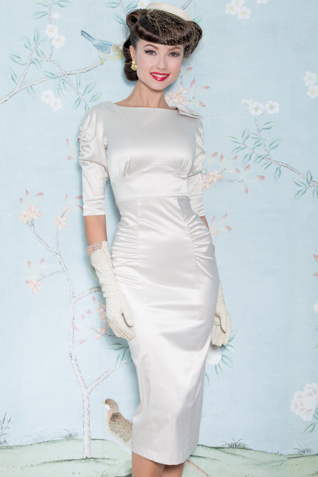 Casablanca Fitted Dress in Ivory Satin,stopstaring.