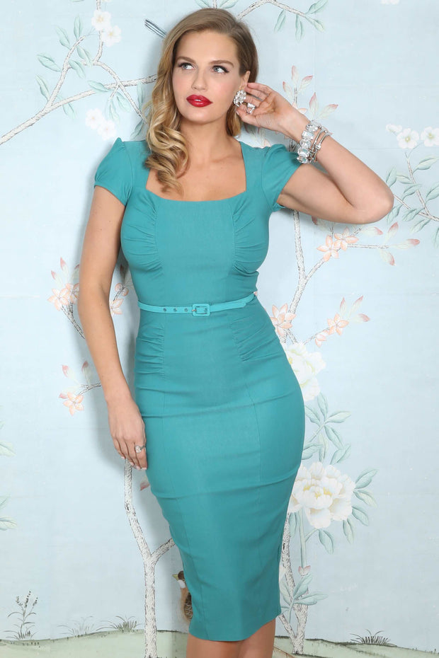 Celebrity Fitted Dress In Light Aqua Custom