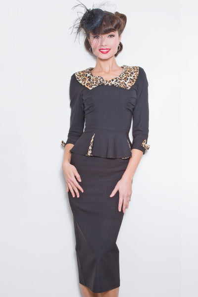 Elisha Fitted Dress with Leopard