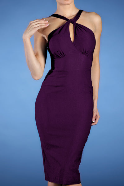 Jolie Fitted Dress Eggplant Custom