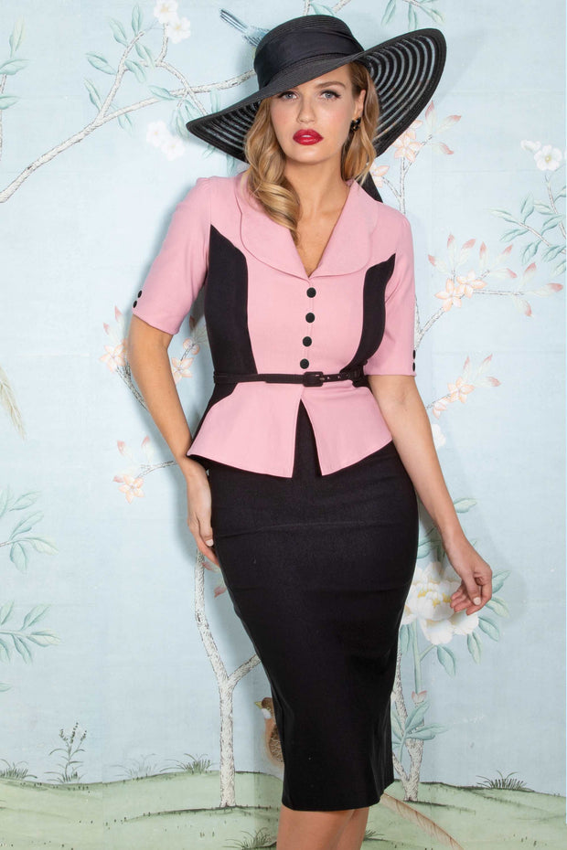 Leonra Fitted Dress in Pink and Black Custom