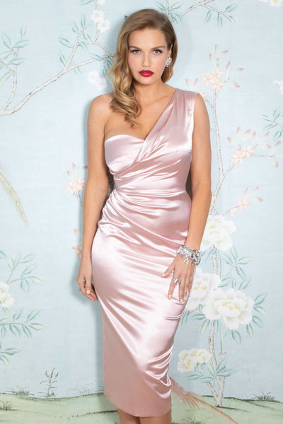 Love Spell Fitted Dress in Pink Satin
