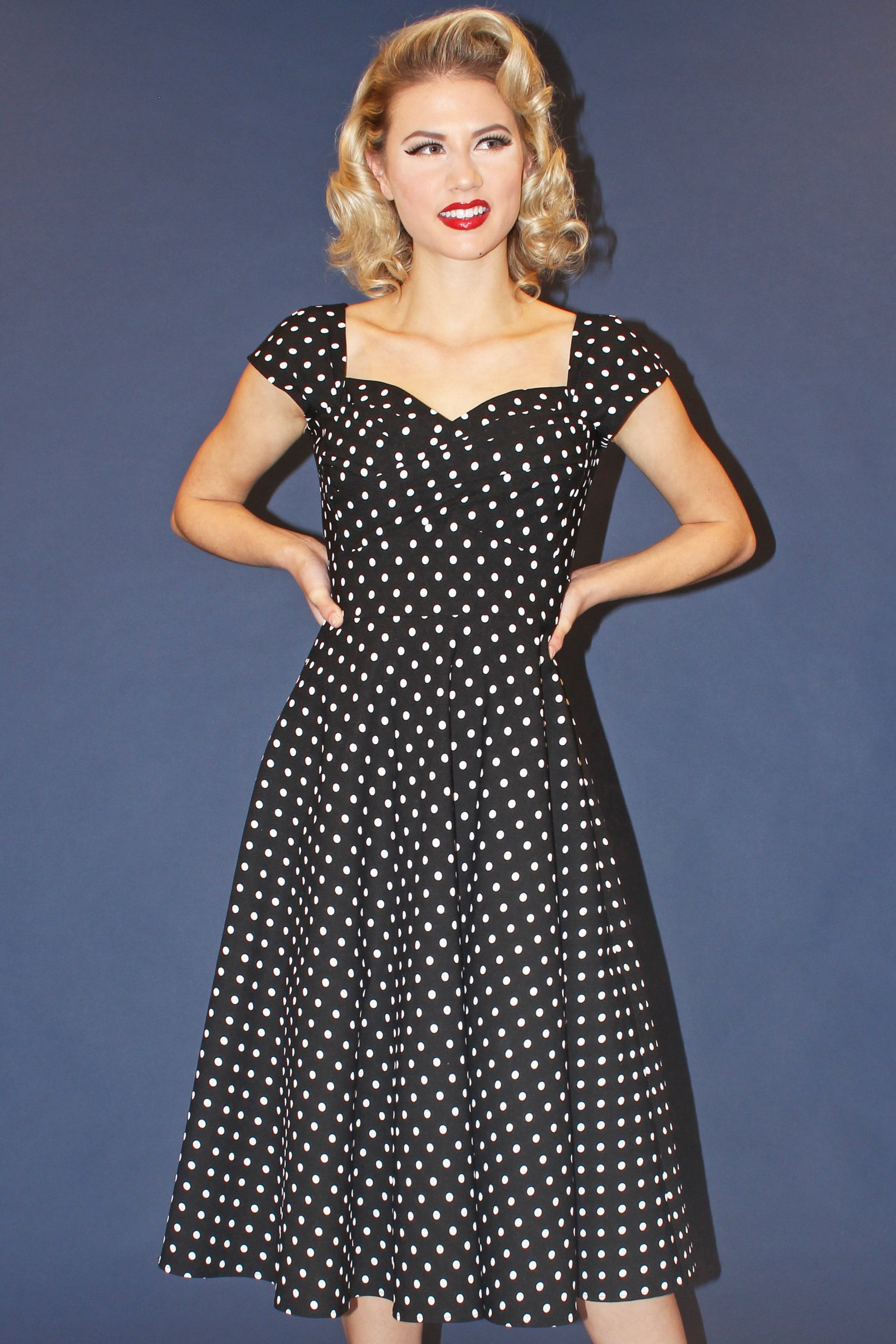 Vintage Evening Gown Black and White Polka Dot XS Tuxedo Styling Empire Waist