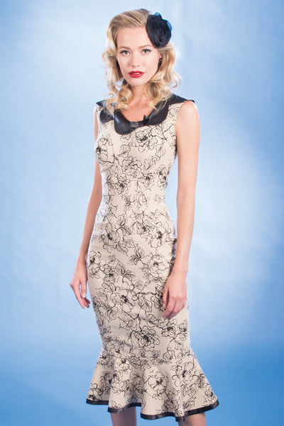 Pretty Tan Floral Print Mika Dress,stopstaring.
