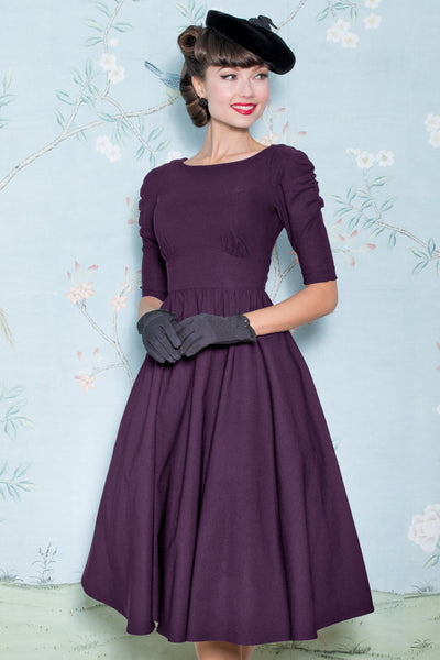 October Swing Dress in Eggplant