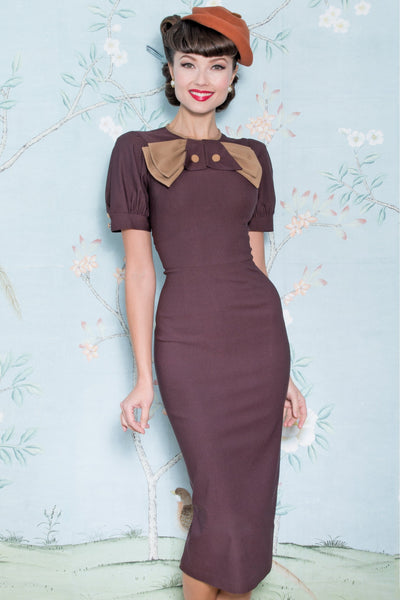 Vintage Inspired 1940s Chocolate Penny Dress