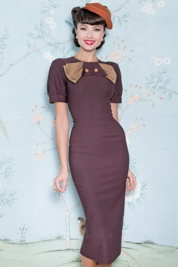 Vintage Inspired 1940s Chocolate Penny Dress,stopstaring.