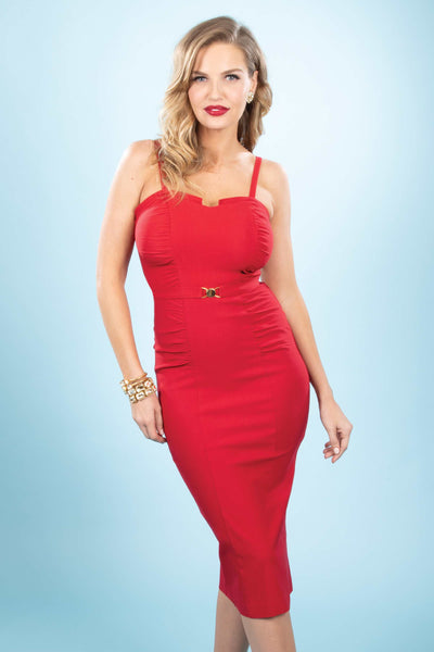 Petra Fitted Dress In Red Custom