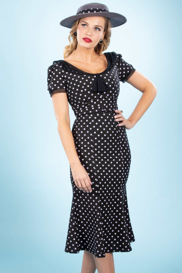 Raileen Fitted Dress in Black with White Dot Custom