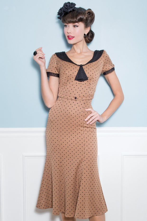 Raileen Polkadot Dress in Camel