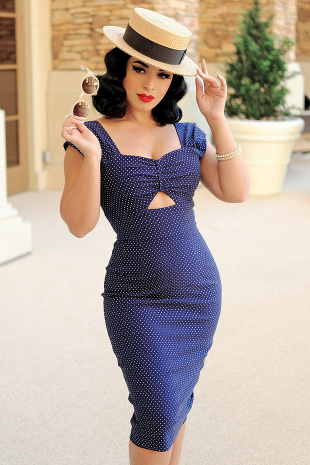 Reyna Keyhole Polka Dot Dress