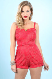 Rio Playsuit In Red with White Dot Custom