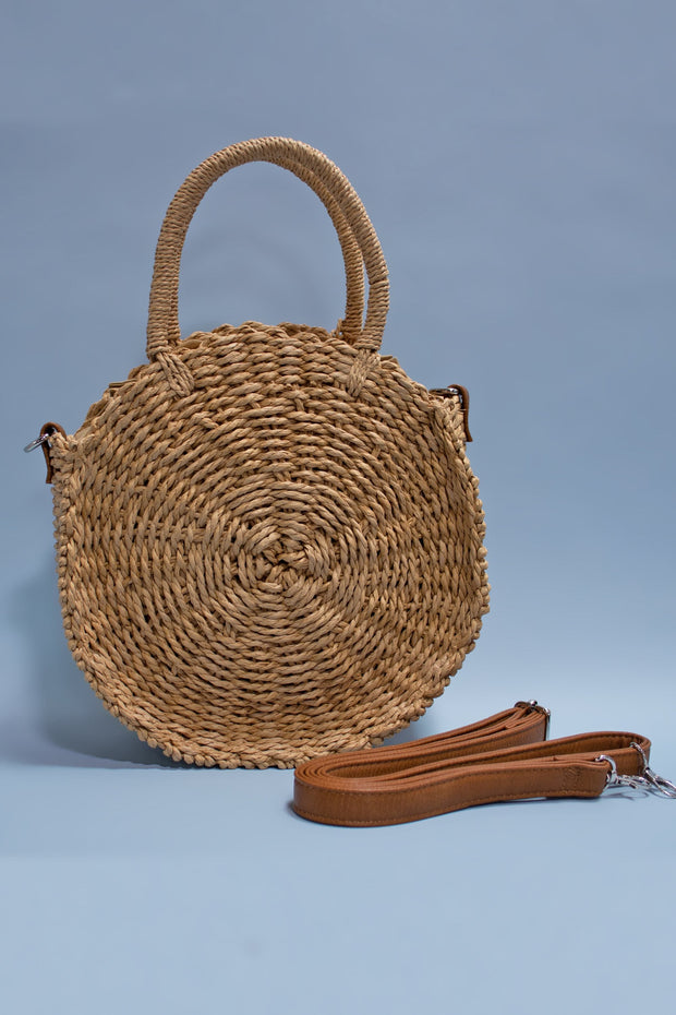 Retro Mexican Round Straw Purse Tan