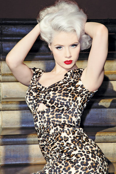 Sugar Fitted Dress in Leopard