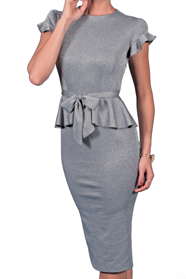 Vera Cruz Silver Fitted Dress,stopstaring.