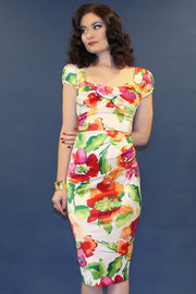Watercolor Summer Floral Fitted Dress,stopstaring.