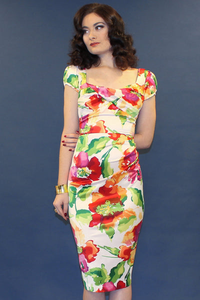Watercolor Summer Floral Fitted Dress
