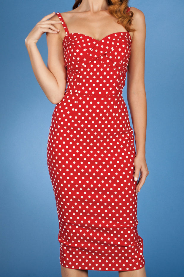 AMERY FITTEDDRESS RED WITH WHITE DOT