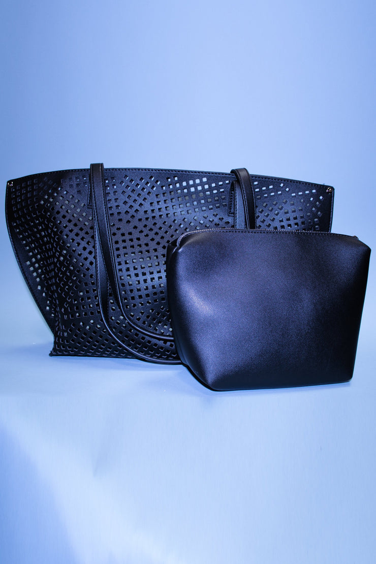 Pretty Black Cut Out Tote Bag