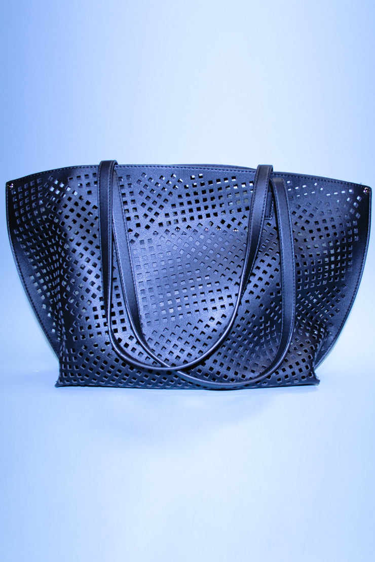 Pretty Black Cut Out Tote Bag,stopstaring.