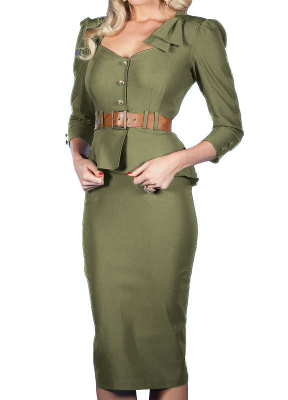 Cadete Dress Olive Green
