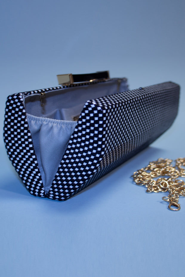 Black and White Micro Checker Silk Clutch