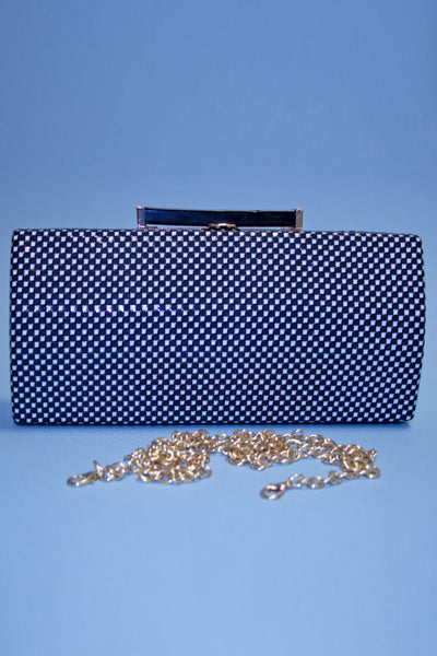 Black and White Micro Checker Silk Clutch,stopstaring.