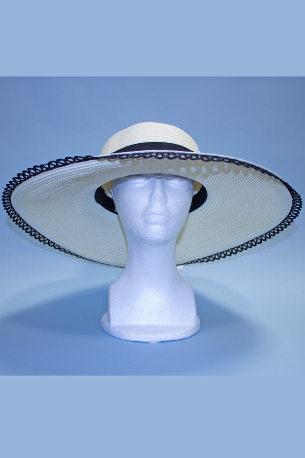 Film Noir Oversized Creme Sun Hat with Mexican Trim