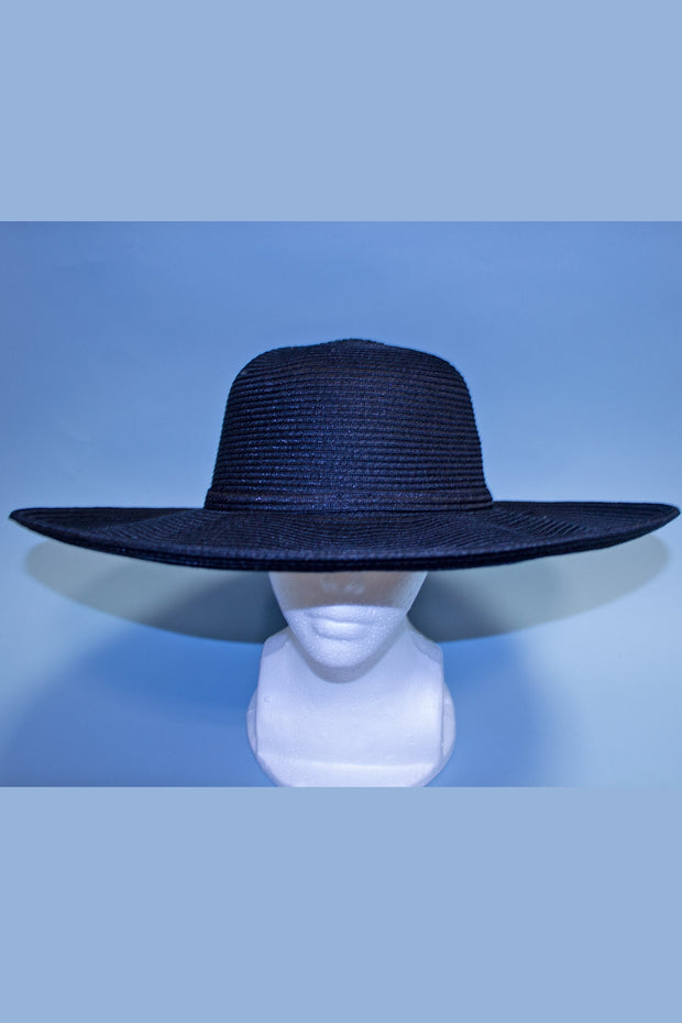 Solid Black Film Noir Oversized Sun Hat