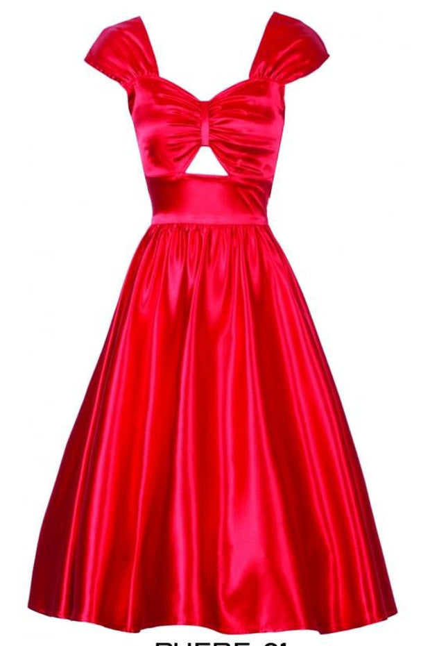 Phebe Swing Dress | Red Satin