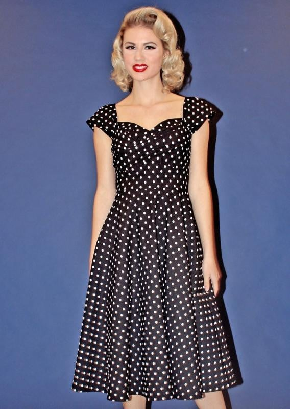 MADSTYLE SWING DRESS BLACK WITH WHITE DOT