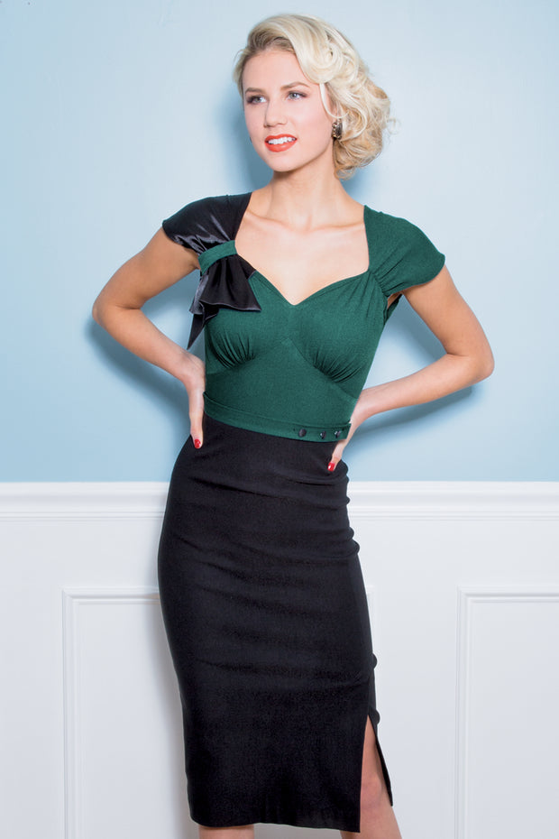 Meadow Fitted Dress Forest Green and Black
