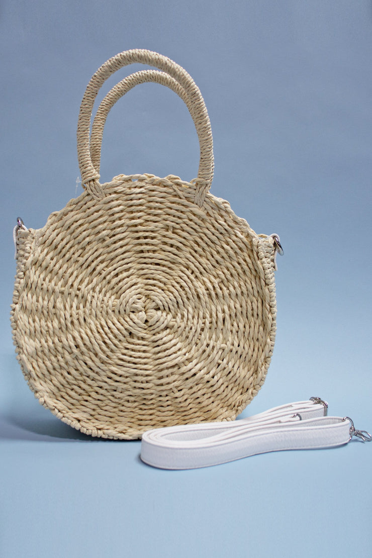 Retro Mexican Round Straw Purse
