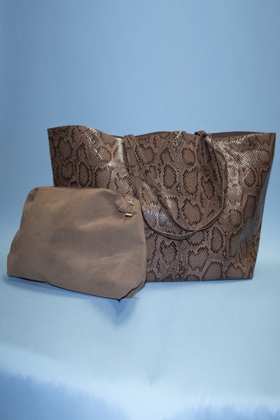Luxe Faux Snakeskin Shoulder Bag