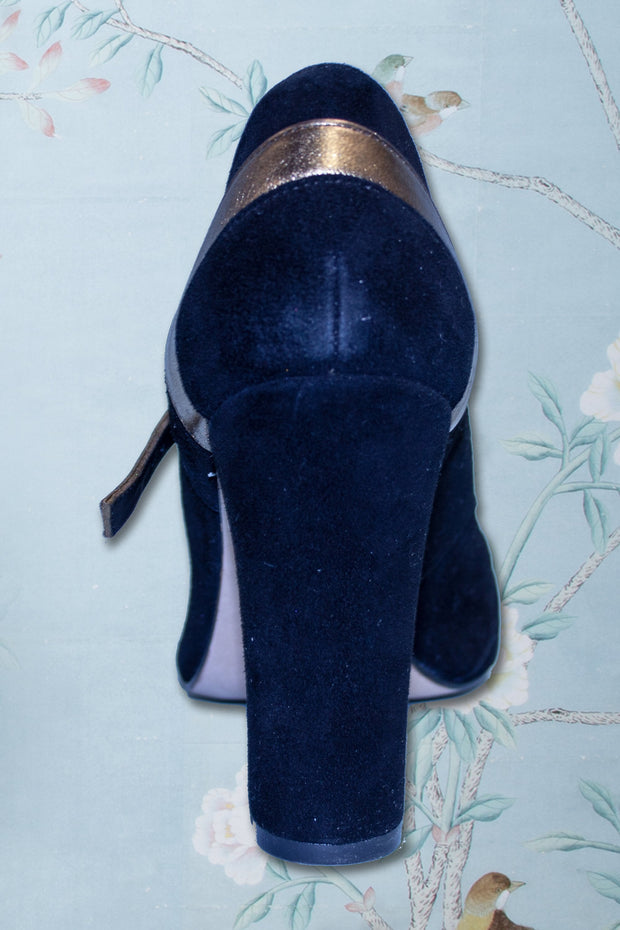 Two Tone Black and Gold 1950s Vintage Mary Jane Heels by Stop Staring!,stopstaring.