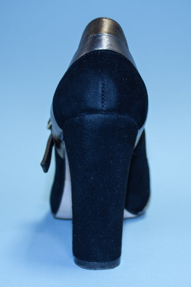 Three Tone Black, Gold, and Silver 1950s Vintage Mary Jane Heels by Stop Staring!,stopstaring.