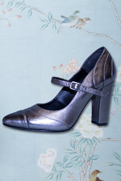 Silver 1950s Vintage Mary Jane Heels by Stop Staring!,stopstaring.