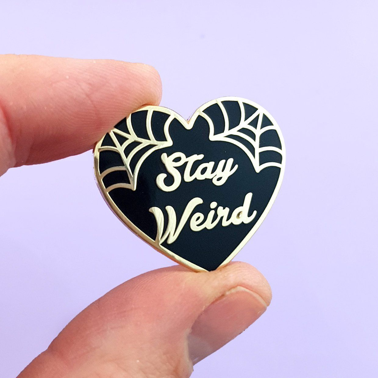 Stay Weird Black Heart Lapel Pin