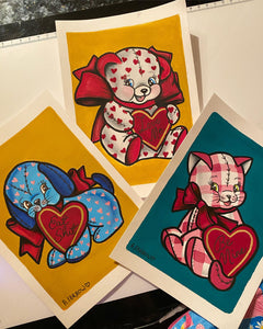 Cat 'Be Mine' A5 Art Print