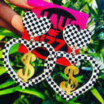 Dancing Dollarz Checkered Heart Earrings