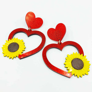 Sunflower Heart Earrings