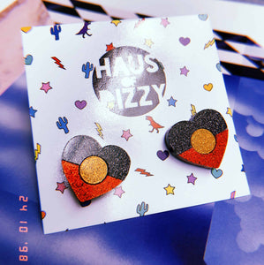 Indigenous Pride Heart Stud Earrings