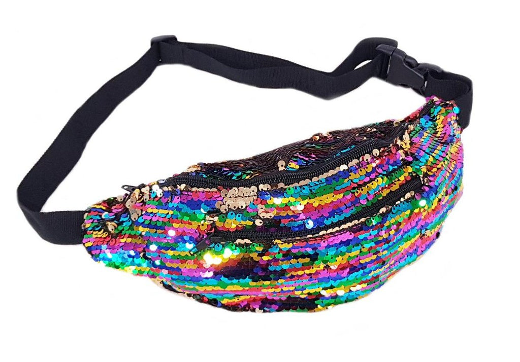 Reversible 'Multi-Colour and Silver' Sequin Bumbag