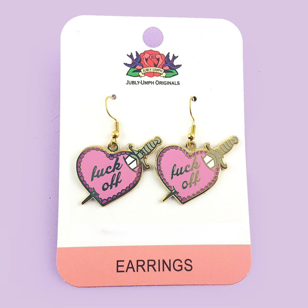 Fuck Off Stiletto Heart Earrings