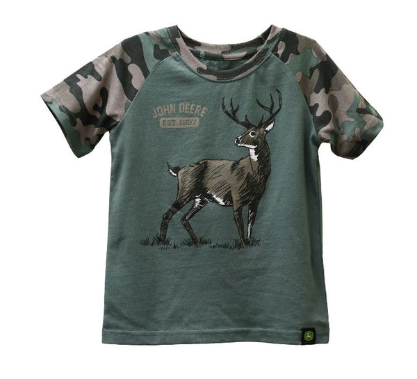 BOYS GREEN AND CAMO W/DEERE SHIRT SIZE 5   - LP72278-5