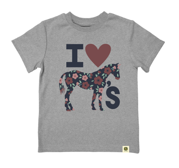 John Deere Girls Shirt Size 2T I Heart Horses Tee   LP73625