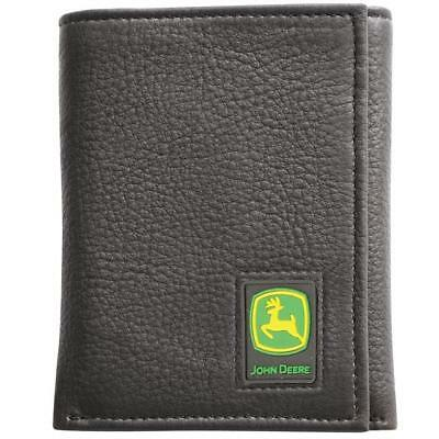 Men's John Deere Tri-Fold Leather Wallet (Black) - LP12268