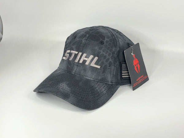 Stihl black Kryptek hat with flag 8402981